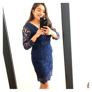 PromGirl Dresses - Navy Blue Crotchet Dress